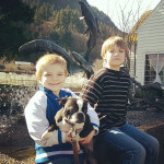 Dog with two kids